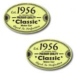 PAIR Distressed Aged Established 1956 Aged To Perfection Oval Design Vinyl Car Sticker 70x45mm Each